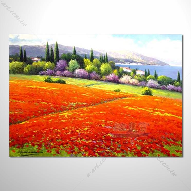 【花田景色风景油画】059 香气 乡村风景画 欧式印象油画 纯手绘 油画
