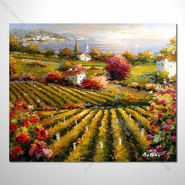 【花田景色风景油画】040 香气 乡村风景画 欧式印象油画 纯手绘 油画