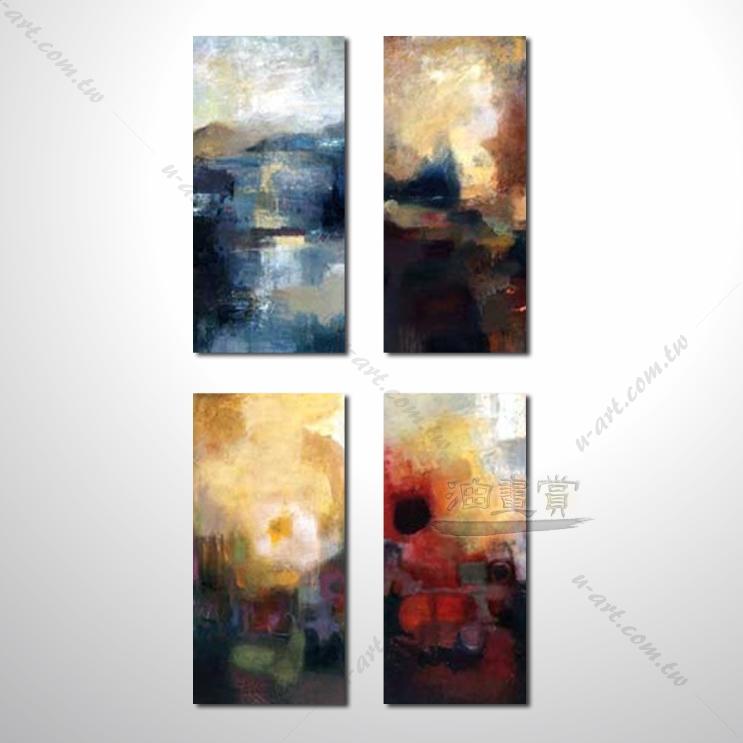 【4拼装饰抽象画】051 日出 夕阳 海景 山景 油画 缤纷暖色调 肌理