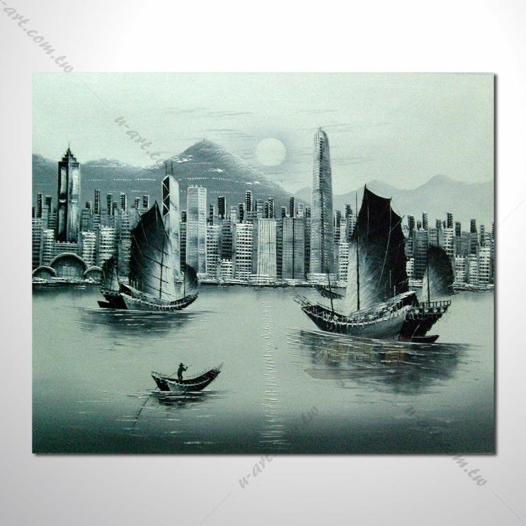 香港街景28 风景油画 异国街景风情 黑白灰色调 绝佳氛围 山水画 无框