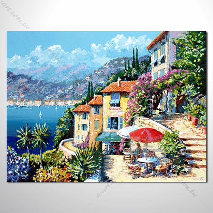 【地中海风景油画】026 欧洲最浪漫的城市 爱情 欧洲风格挂画 品味