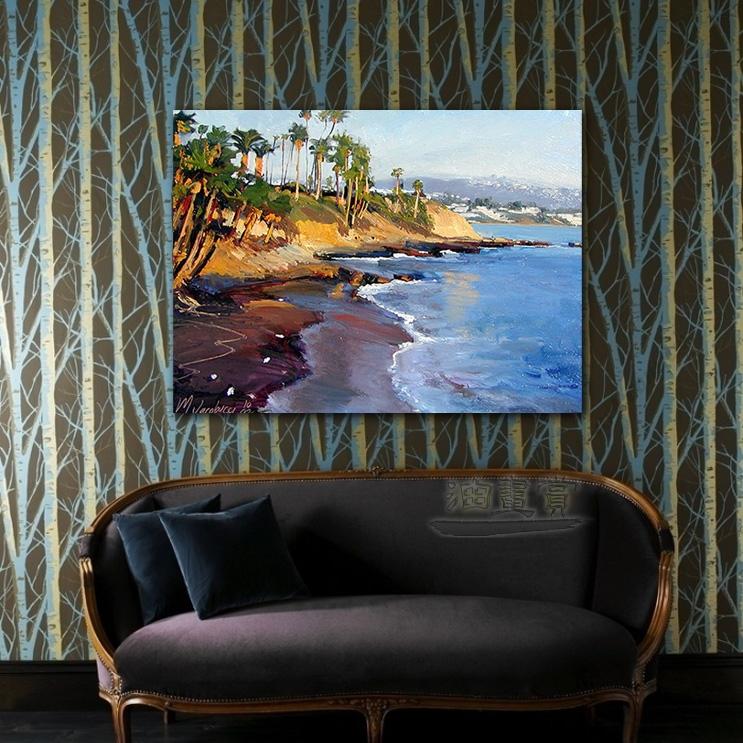 【海景装饰风景画】009 纯手绘 油画 艺术画 浪漫 沙滩 海湾 海浪