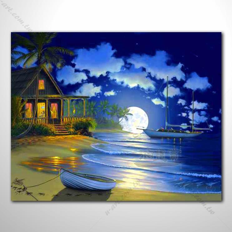 【海景装饰风景画】007 纯手绘 油画 艺术画 浪漫 沙滩 海湾 海浪