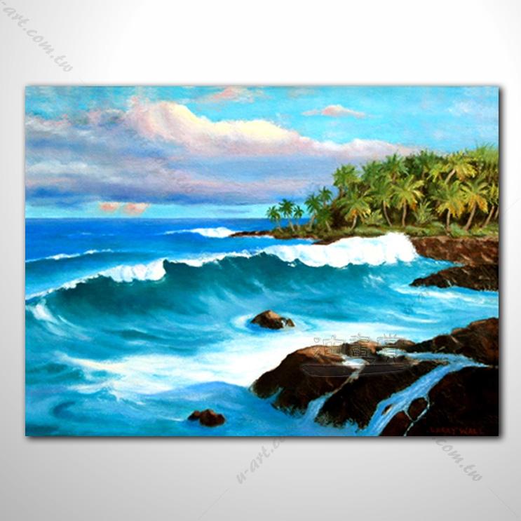 【海景装饰风景画】006 纯手绘 油画 艺术画 浪漫 沙滩 海湾 海浪