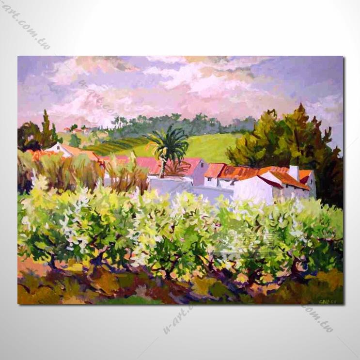 【花田景色风景油画】071 香气 乡村风景画 欧式印象油画 纯手绘 油画
