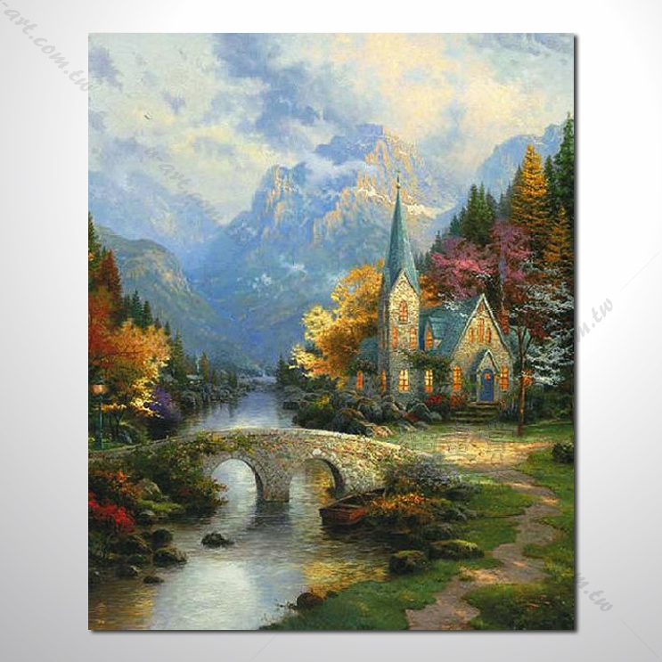 油画 小桥流水 万紫千红 鸟语花香 山水画 风景画 浪漫爱情