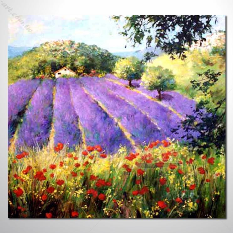 【紫恋薰衣草油画】068 香气 乡村风景 风景油画 纯手绘 油画 装饰 挂