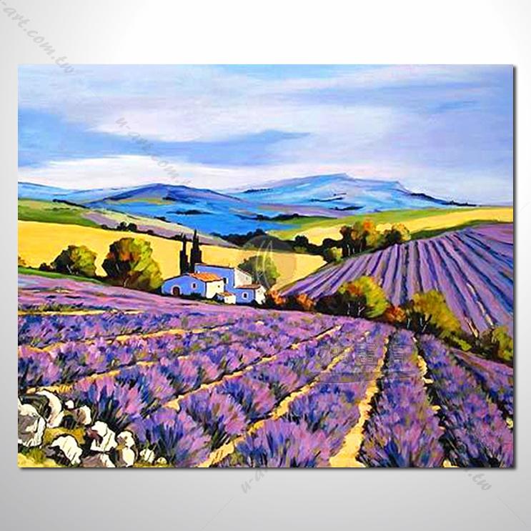 【紫恋薰衣草油画】008 香气 乡村风景 风景油画 纯手绘 油画 装饰 挂