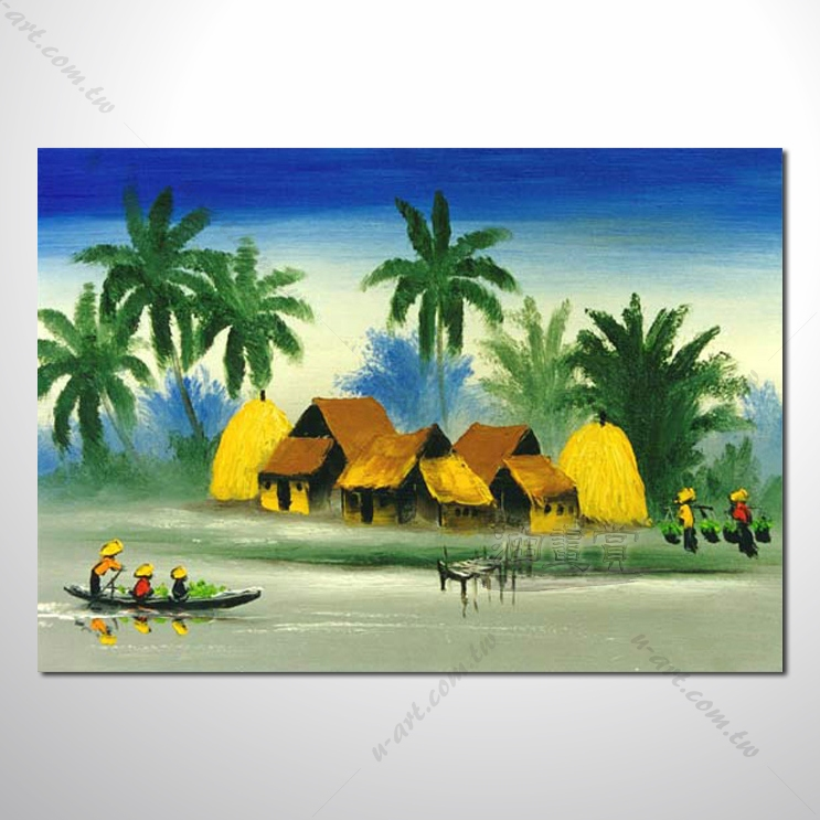 【海景装饰风景画】024 纯手绘 油画 越南景 艺术画 对比色彩鲜明
