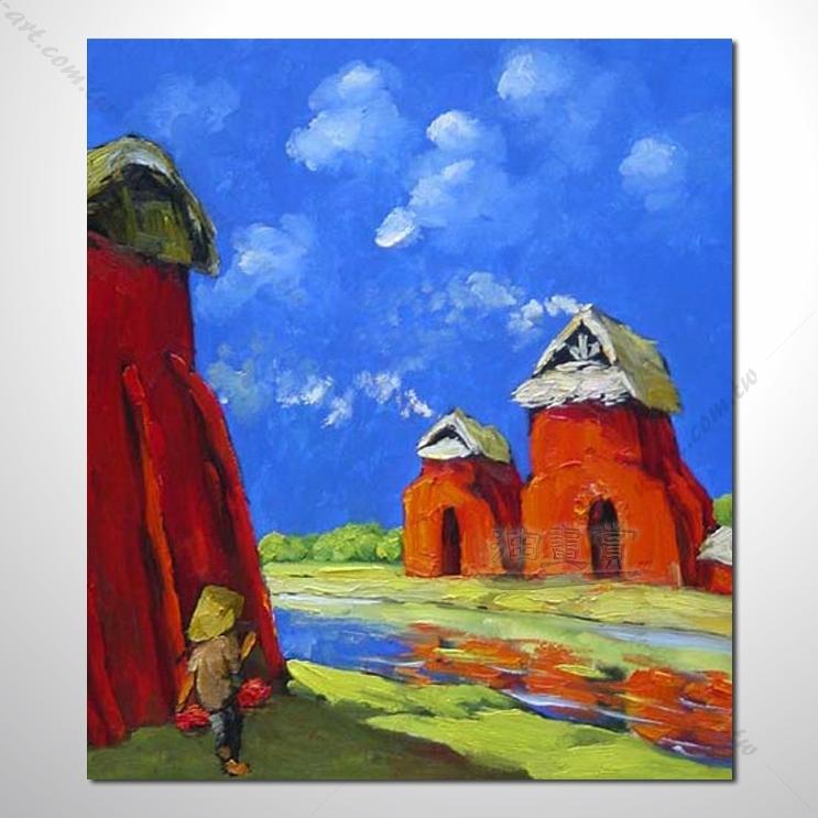 【海景装饰风景画】016 纯手绘 油画 越南景 艺术画 对比色彩鲜明