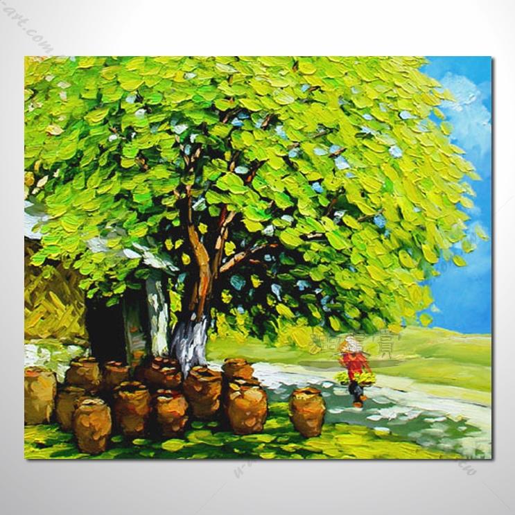 【海景装饰风景画】013 纯手绘 油画 越南景 艺术画 对比色彩鲜明