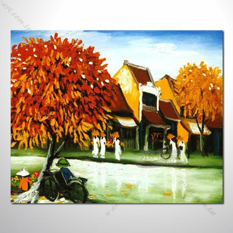 【海景装饰风景画】010 纯手绘 油画 越南景 艺术画 对比色彩鲜明