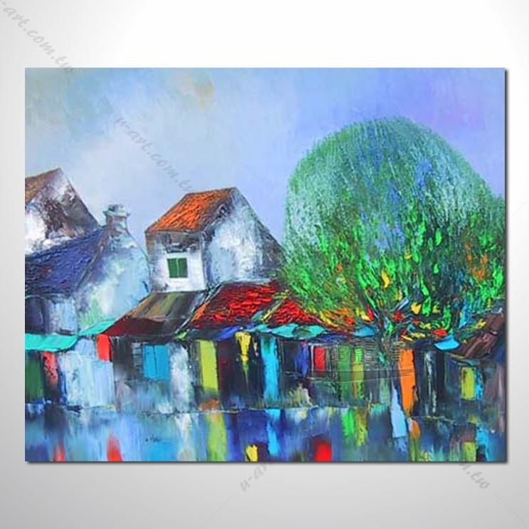 【海景装饰风景画】009 纯手绘 油画 越南景 艺术画 对比色彩鲜明